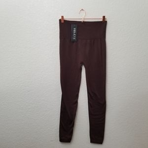 NWT Yelete Fleece Lined Leggings Brown Plus Size